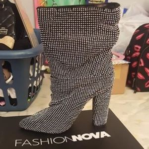 Fashion Nova black studded boots